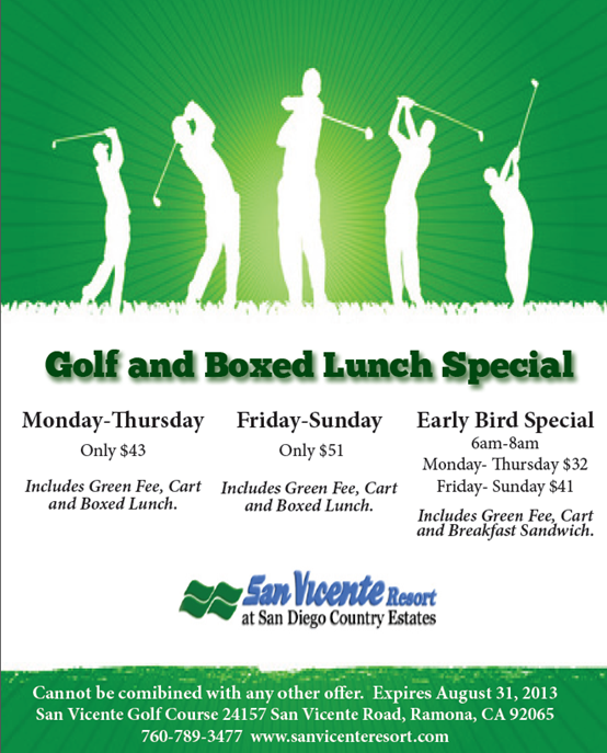 Golf & Boxed Lunch Special